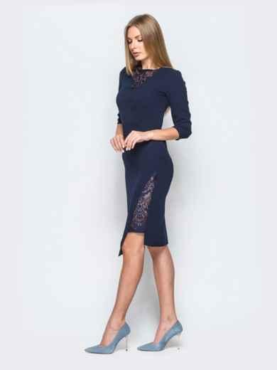 Платье тёмно-синего цвета со вставками из кружева - 17421, фото 2 – интернет-магазин Dressa