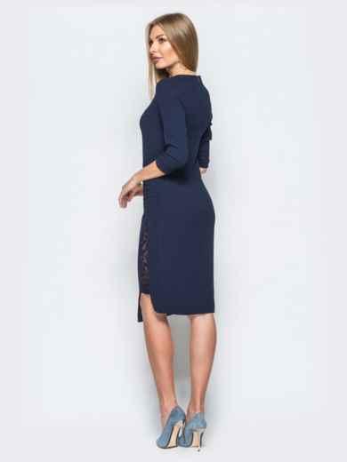 Платье тёмно-синего цвета со вставками из кружева - 17421, фото 3 – интернет-магазин Dressa