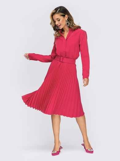 Розовое платье из костюмной ткани с юбкой-плиссе 55370, фото 1
