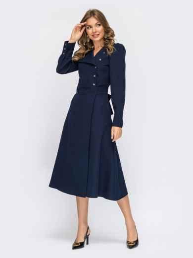Синее платье-миди на запах из костюмного крепа 55115, фото 1