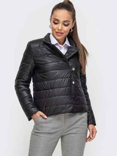 Укороченная куртка чёрного цвета на кнопках 50645, фото 1
