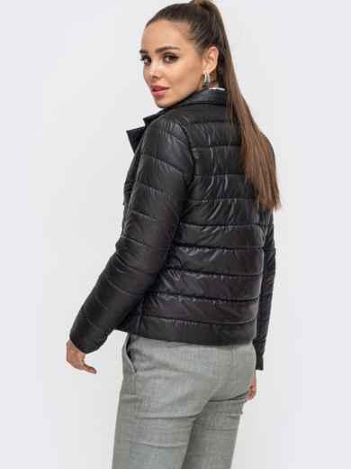 Укороченная куртка чёрного цвета на кнопках 50645, фото 3