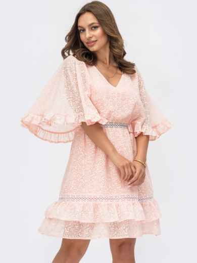 Расклешенное платье из хлопка с объемными рукавами розовое 54130, фото 1