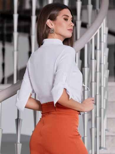 Белая блузка с рукавом 3/4 и накладным карманом 39671, фото 2