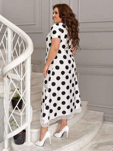 Белое платье батал в черный горох 49192, фото 3