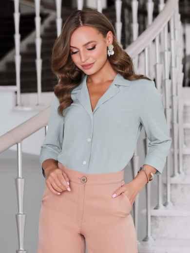 Блузка мятного цвета с лацканами - 40089, фото 2 – интернет-магазин Dressa