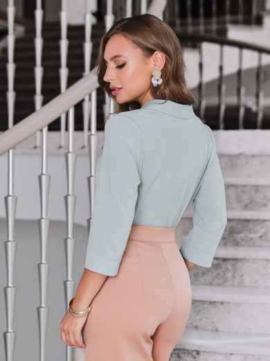 Блузка мятного цвета с лацканами - 40089, фото 3 – интернет-магазин Dressa