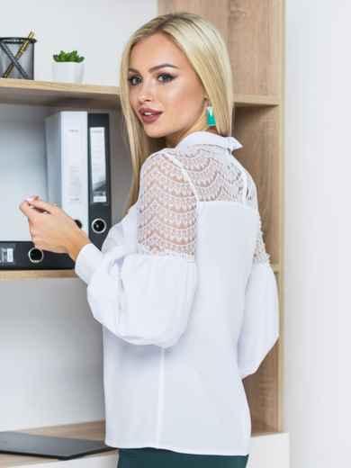 Блузка с отделкой из белого кружева с рукавами-фонариками 14126, фото 4