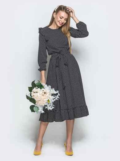 Чёрное платье в горох с рюшами и расклешенной юбкой - 40028, фото 1 – интернет-магазин Dressa