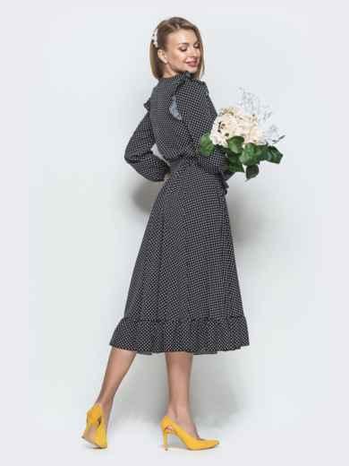 Чёрное платье в горох с рюшами и расклешенной юбкой - 40028, фото 2 – интернет-магазин Dressa