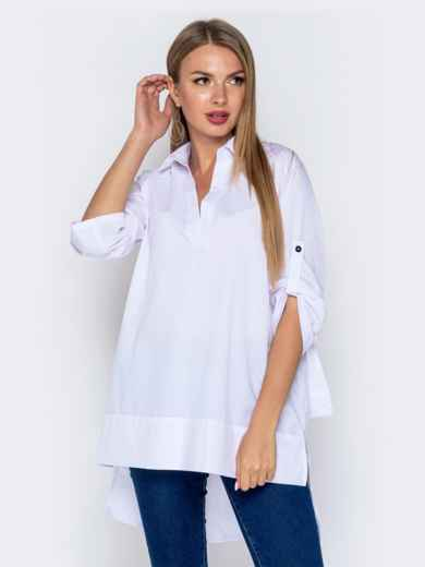Хлопковая рубашка в V-вырезом и удлиненной спинкой белая - 40841, фото 2 – интернет-магазин Dressa