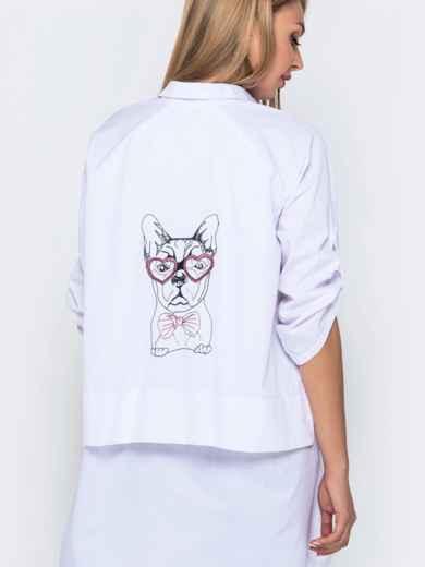 Хлопковая рубашка в V-вырезом и удлиненной спинкой белая - 40841, фото 3 – интернет-магазин Dressa