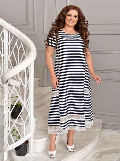 Платье батал в темно-синюю полоску 49191, фото 1