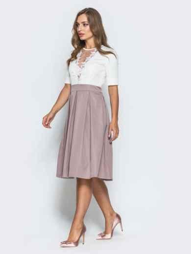 Платье с фатином и кружевом на полочке розовое - 14638, фото 2 – интернет-магазин Dressa