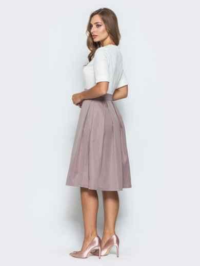Платье с фатином и кружевом на полочке розовое - 14638, фото 3 – интернет-магазин Dressa