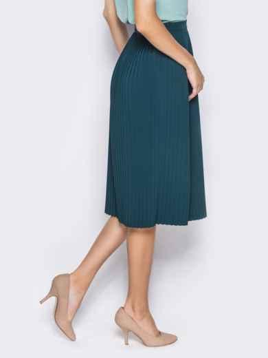 Плиссированная юбка с молнией в боковом шве зелёная - 14352, фото 3 – интернет-магазин Dressa