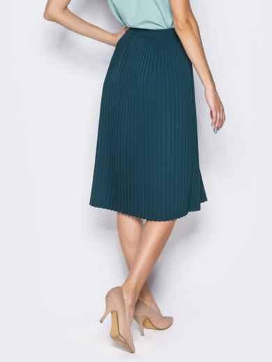 Плиссированная юбка с молнией в боковом шве зелёная - 14352, фото 4 – интернет-магазин Dressa