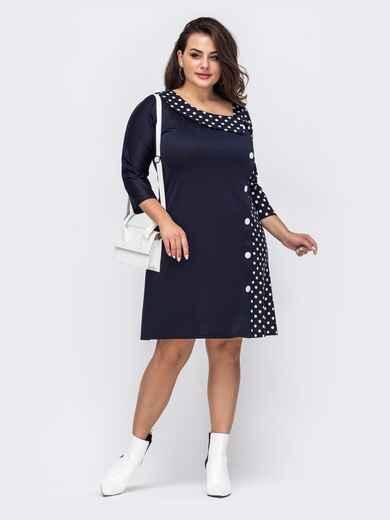 Темно-синее платье большого размера из комбинации тканей  51280, фото 1