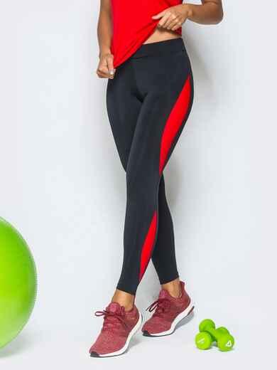 Черные лосины с красными вставками - 17176, фото 1 – интернет-магазин Dressa