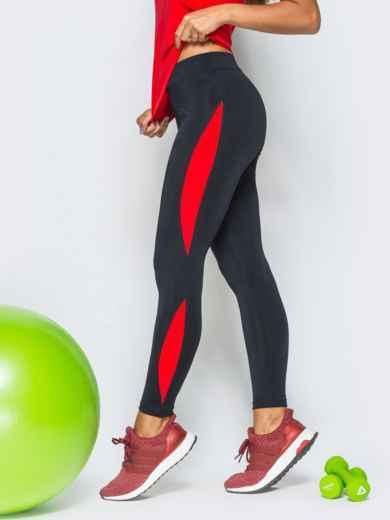 Черные лосины с красными вставками - 17176, фото 2 – интернет-магазин Dressa