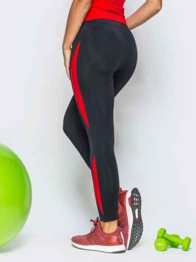 Черные лосины с красными вставками - 17176, фото 3 – интернет-магазин Dressa