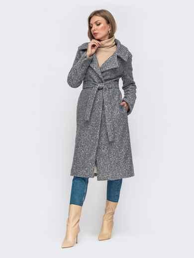 Пальто на запах серого цвета 50975, фото 1