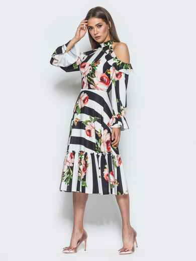 Платье в полоску с американской проймой и оборкой на юбке - 14674, фото 1 – интернет-магазин Dressa