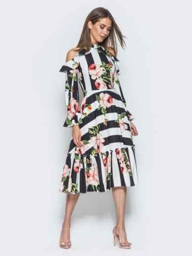 Платье в полоску с американской проймой и оборкой на юбке - 14674, фото 2 – интернет-магазин Dressa