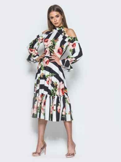 Платье в полоску с американской проймой и оборкой на юбке - 14674, фото 3 – интернет-магазин Dressa