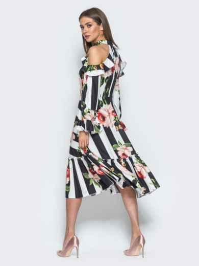 Платье в полоску с американской проймой и оборкой на юбке - 14674, фото 4 – интернет-магазин Dressa