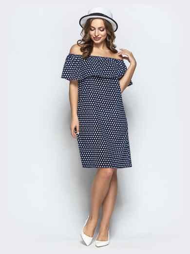 Принтованное платье с открытыми плечами тёмно-синее - 21709, фото 1 – интернет-магазин Dressa