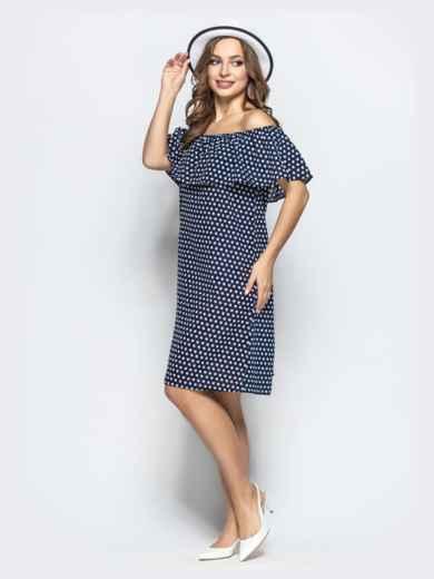 Принтованное платье с открытыми плечами тёмно-синее - 21709, фото 2 – интернет-магазин Dressa