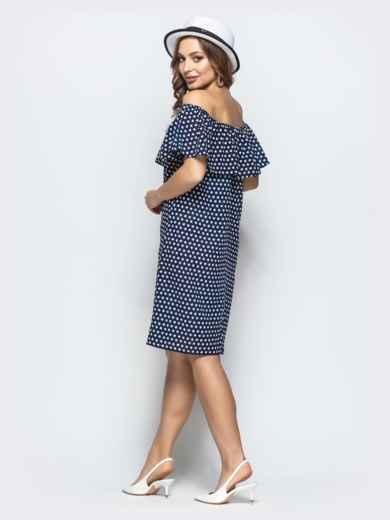 Принтованное платье с открытыми плечами тёмно-синее - 21709, фото 3 – интернет-магазин Dressa