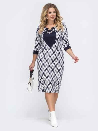 Белое платье большого размера с принтом - 43228, фото 1 – интернет-магазин Dressa