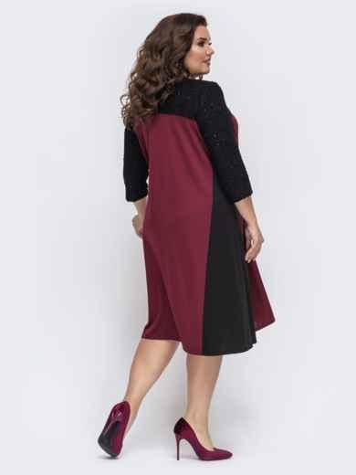 Бордовое платье трапеция на пуговицах 43229, фото 2