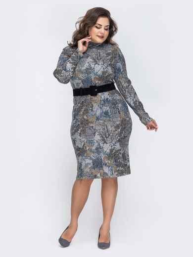 Платье батал с нитью люрекса и принтом коричневое 43852, фото 1
