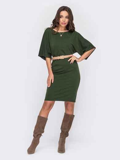 Платье с цельнокроеным рукавом цвета хаки 53089, фото 1