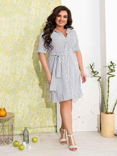 Приталенное платье батал в узкую полоску белое - 47630, фото 1 – интернет-магазин Dressa