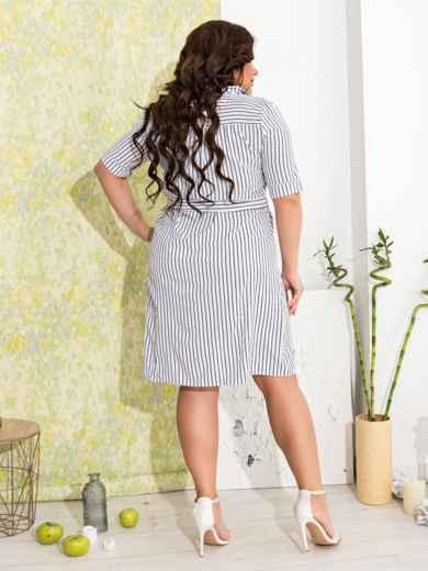 Приталенное платье батал в узкую полоску белое - 47630, фото 2 – интернет-магазин Dressa