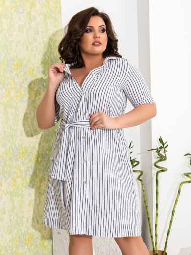 Приталенное платье батал в узкую полоску белое - 47630, фото 3 – интернет-магазин Dressa