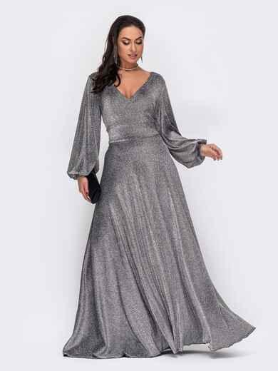 Серое платье большого размера в пол с люрексом 52275, фото 1