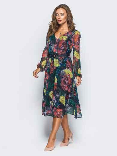 Шифоновое платье с цветочным принтом черное - 16150, фото 1 – интернет-магазин Dressa