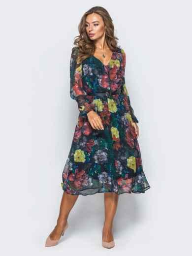 Шифоновое платье с цветочным принтом черное - 16150, фото 2 – интернет-магазин Dressa