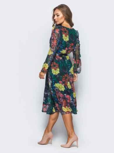 Шифоновое платье с цветочным принтом черное - 16150, фото 3 – интернет-магазин Dressa