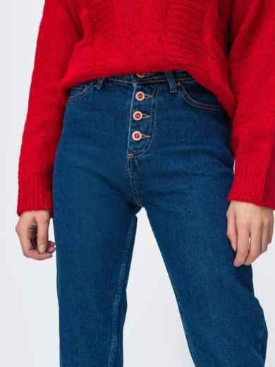 Синие джинсы-мом на пуговицах - 42604, фото 3 – интернет-магазин Dressa