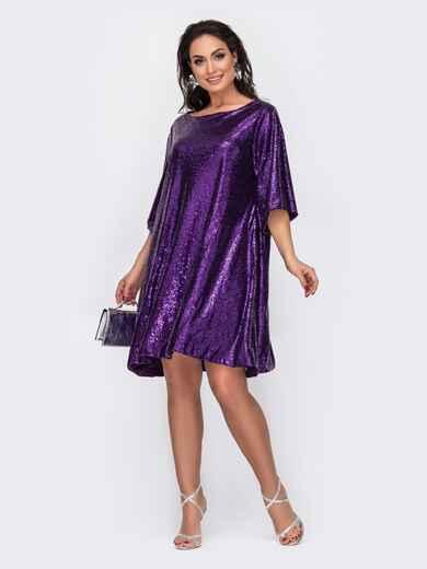 Свободное платье большого размера с пайетками фиолетовое 52276, фото 1