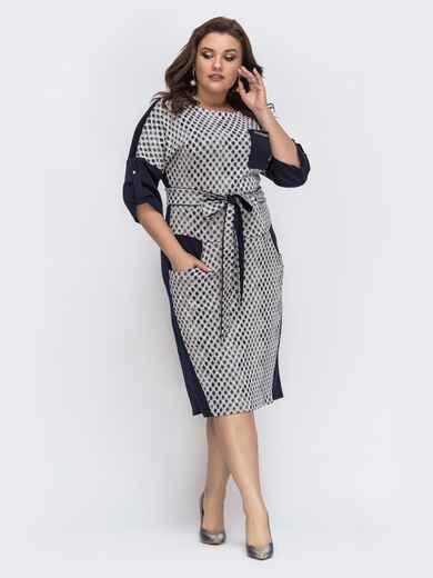 Трикотажное платье с принтом и карманами по бокам чёрное 43227, фото 1