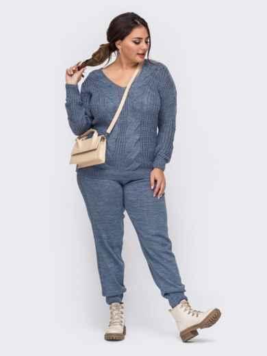 Вязаный костюм большого размера с брюками синий 51578, фото 1
