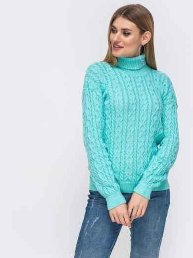 Бирюзовый свитер с ажурной вязки и высоким воротником 42723, фото 2