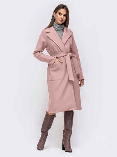 Демисезонное пальто на запах с накладными карманами розовое 50514, фото 1